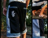 mens patchwork Dude Shorts hippie patchwork MADE to ORDER six pocket 30 32 34 36 38 40 42 44 46 48 RADIANT Shade