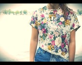 Floral Crop Top With Lace Trim