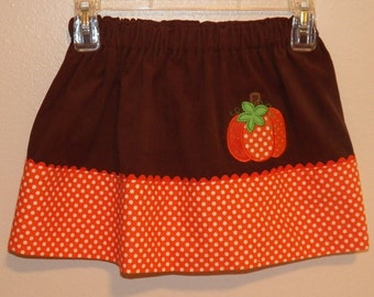Girls Pumpkin Applique Skirt  -  Size 4 to 5