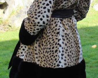 Vintage Sex Kitten 1960's Faux Leopard Coat Small Medium Made in England
