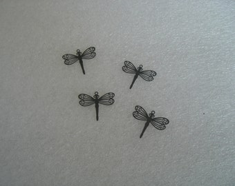 """Plated Brass Filigree Dragonfly Charm """"laser lace"""" in Black or Bright Silver (4)"""