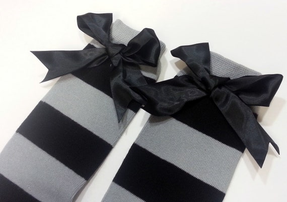 Gray and Black Chunky Striped Leg Warmers - Black and Gray Striped Leg Warmers - Halloween Costumes