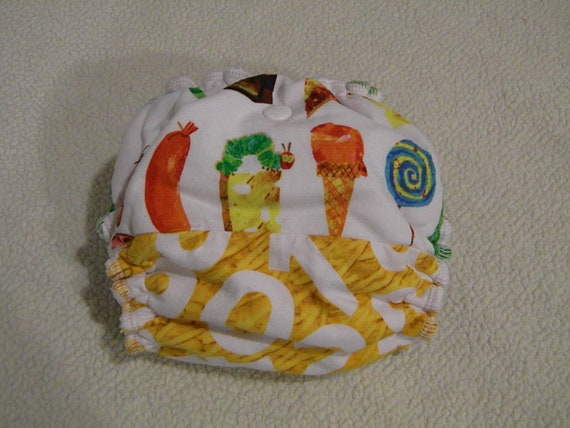 Very Hungry Caterpillar Newborn/Small Velour Fitted Diaper