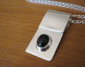 Black Onyx and Sterling Silver Genuine Gemstone Upcycled Necklace