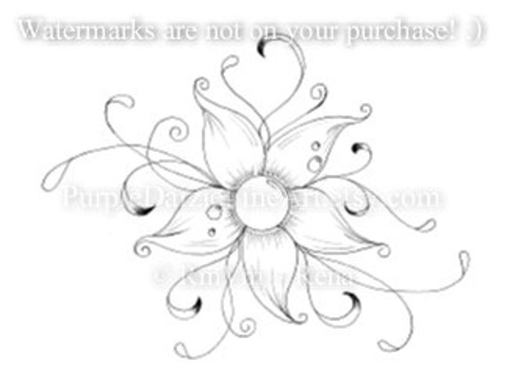 items similar to printable color page tattoo design swirly flower