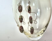 Sterling Silver Earrings: Amethyst Glass Beads, Handmade, Chic, Wirework