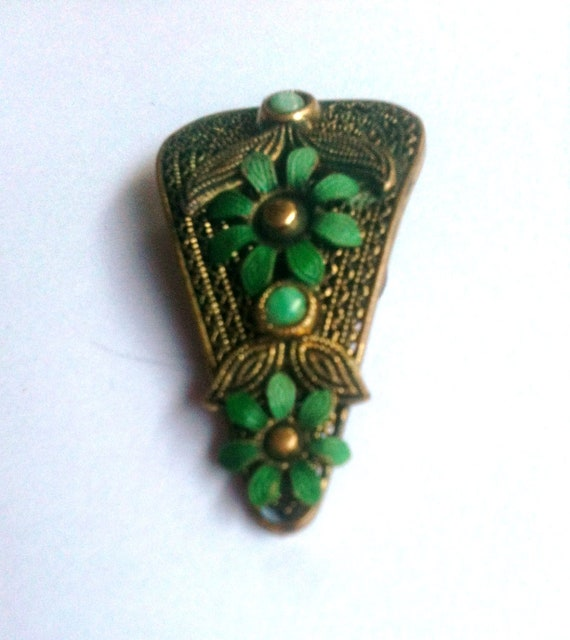 Czech Aqua Green Enamel Flower Dress Clip 1920s Vintage Great Gatsby