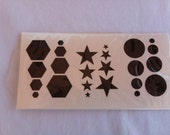 Black reflective bike bicycle stickers - hexagon, star, circle
