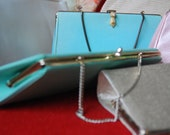 Blue-green clutch purse with chain, vintage 1960's