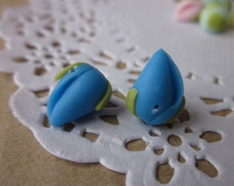 10 pcs 10mm Polymer Clay Flower with green leaf, FIMO closed angle blue beads, Charm craft jewelry, Necklaces Earrings Bracelet Accessories