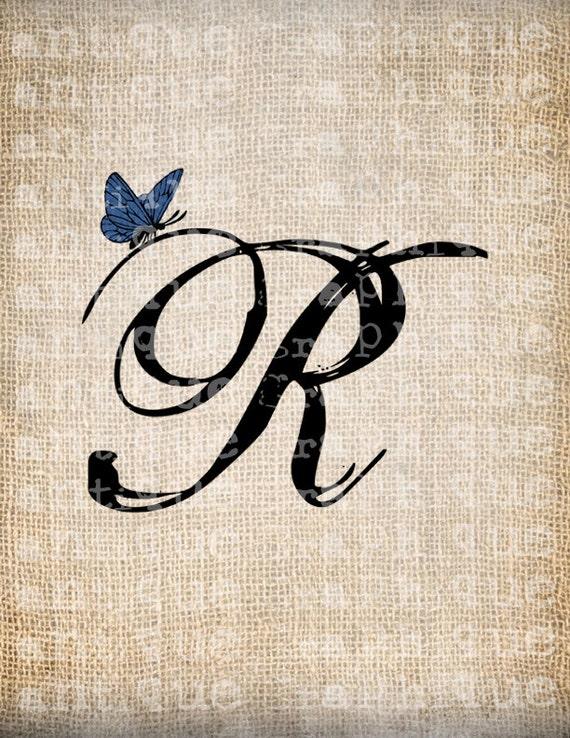 Antique Letter R Script Monogram With By Antiquegraphiqueaged