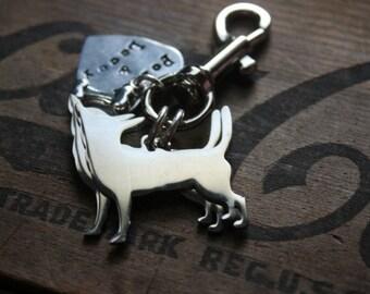 Two Chihuahuas Custom Keychain Dog Lover Keyring