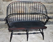 River Bend Chair Co. Windsor Doll Sized Miniature Wooden Side Double Bench Chair
