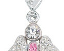 Genuine Zable Product. 925 Sterling Silver Pink Crystal Angel Charm.