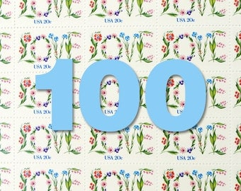 100 pieces - 1982 20 cent floral LOVE Vintage unused stamps - great for wedding invitations or craft projects