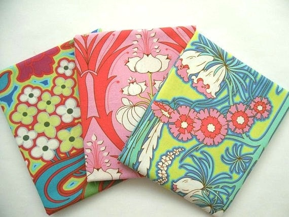 SALE Amy Butler Fabric Soul Blossoms Collection-Disco Flower in Hot Pink/Passion Lily in Cerise Pink/Fuchsia Tree in chartreuse