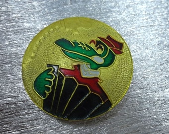 rare soviet pin badge pinbacks Cheburashka - Gena crocodile play harmonica, a character children of Russian cartoon. Made in the USSR.