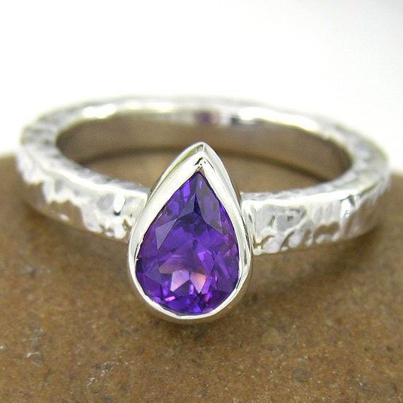 READY TO SHIP - purple polished amethyst ring - February bithstone
