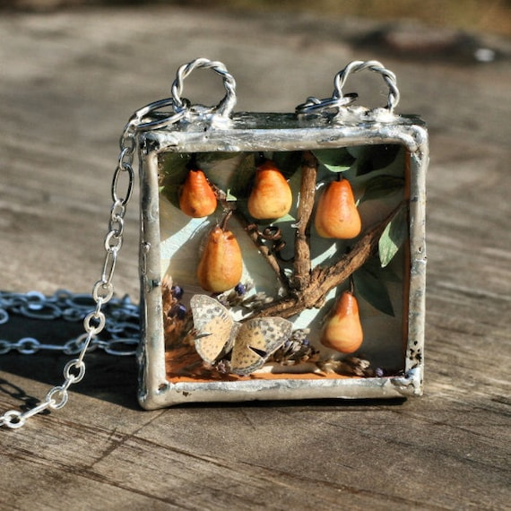 Diorama Pears Fall Autumn Miniature Art Solder Necklace