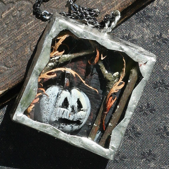 White Ghost Pumpkin Halloween Necklace