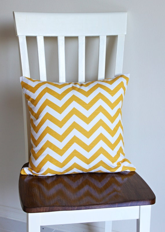 Yellow/Mustard Chevron/Zig Zag Pillow Cover with Invisible Zipper for 18X18 inch (45.72 X 45.72 cm) Pillow Form