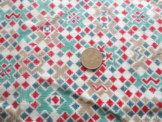 red and green geometric print vintage feedsack fabric