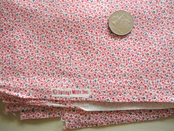 red and blue floral print cotton blend vintage fabric -- 44 wide by 1 yard