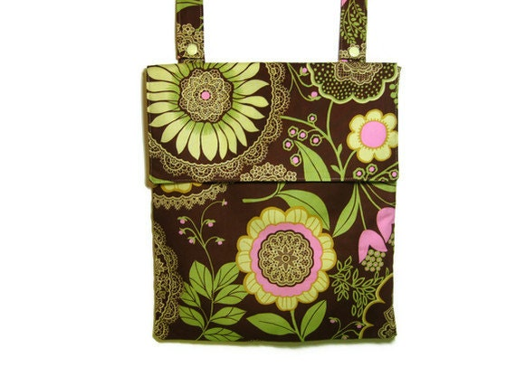 Eco friendly Wet bag, Brown fall autumn floral hanging kitchen wetbag READY TO SHIP