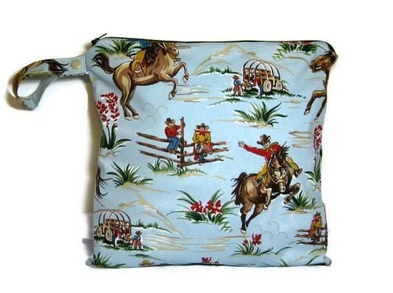 Wet bag waterproof cloth diaper cowboy zipper medium swim bathing suit pool beach boy blue brown
