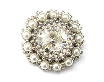 Brooch, Swarovski Crystal & White Pearl, Beaded Brooch Pin