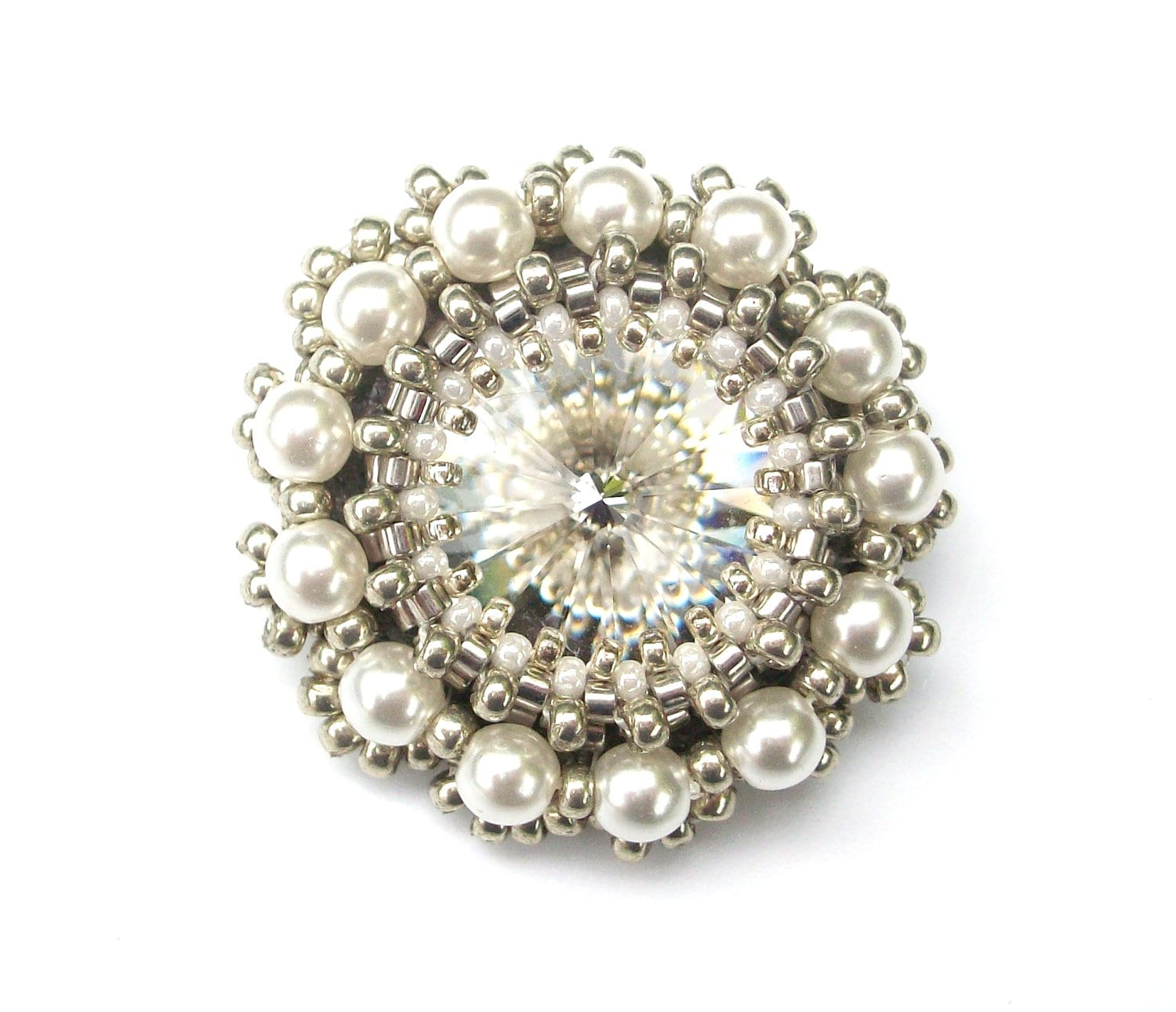 Brooch Swarovski Crystal & White Pearl Beaded Brooch Pin