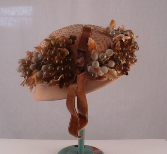 50s Vintage Hat Glass Fruit Hand blown Millinery Pixie Designer Wm Silverman
