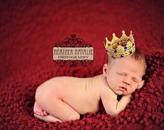 Deluxe Royal Jewels - Handcrafted Boy or Girl Gold Lace Crown - Perfect Newborn Photo Prop