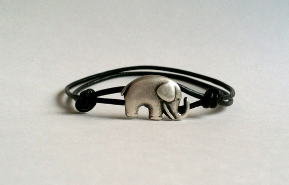 SALE Elephant Leather Bracelet , Good Luck Elephant Charm, Good Luck Bracelet