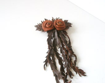 Orange Brown  Flower  Leather Rose  Barrette  Free Shipping