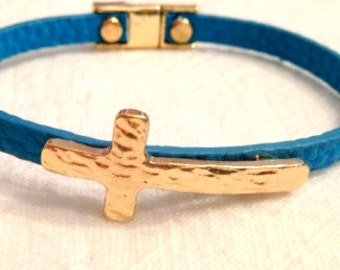 Hammered Gold Cross Leather Bracelet Magnetic Clasp