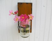 Rustic French Cottage Shabby Chic Wood Sconce Mason Jar Vase Country Cabin Handmade Wood Bathroom Decor Rustic Distressed Wood Deep Yellow