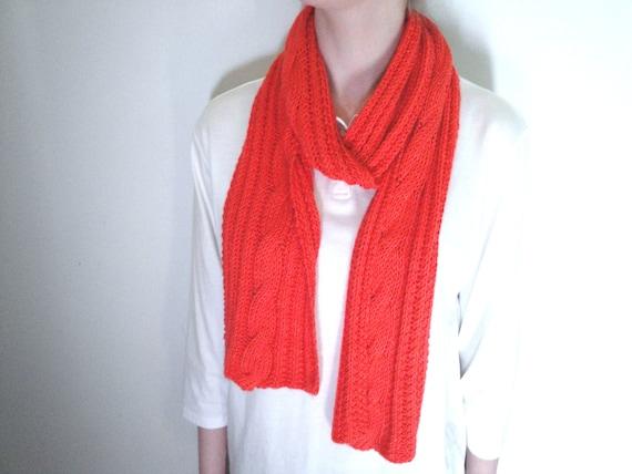 Poppy Bamboo Scarf, Hand Knit Poppy Orange Scarf, Long Cable Rib Scarf, Vibrant Orange Coral