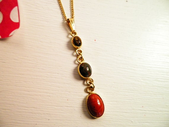 Scarab Pendant Necklace 18 Inches Length Vintage
