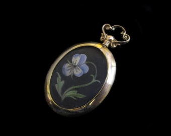 Pansy Miniature (original painting, not a reproduction) in Edwardian 9K Gold Locket