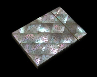 Antique Mother of Pearl Card Case-Late Victorian-Gorgeous Quilted Pattern & Engraved Flowers