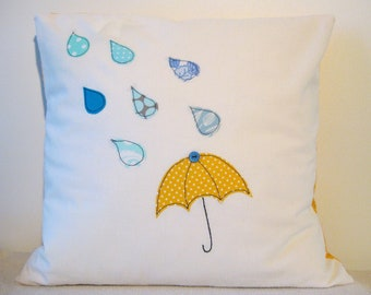 Umbrella and raindrops cushion cover, yellow and blue, free motion applique, linen and cotton. 40cm / 16""
