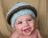Christmas Winter baby boy hat Beret Newborn to 6 months baby boys blue and brown ready to ship