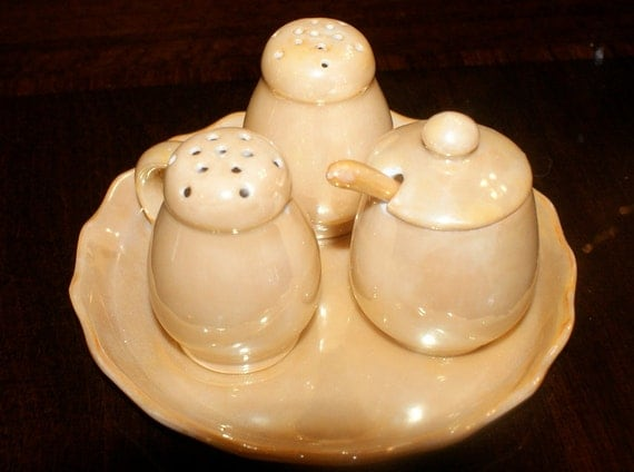 Vintage Miniature Lusterware Salt, Pepper and Sugar or Honey