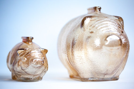 Carnival Glass Amber Marigold Glass Pig Piggy Bank Set Anchor Hocking