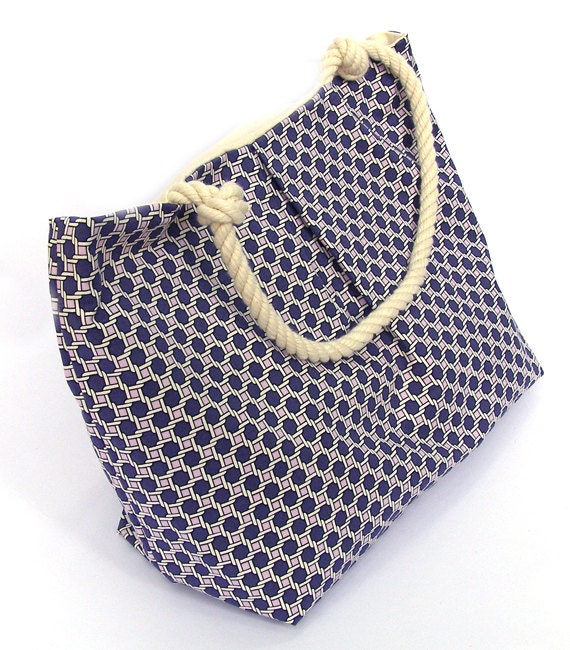 Plum, Lavender and White Caning Print Tote Bag with Rope Handles