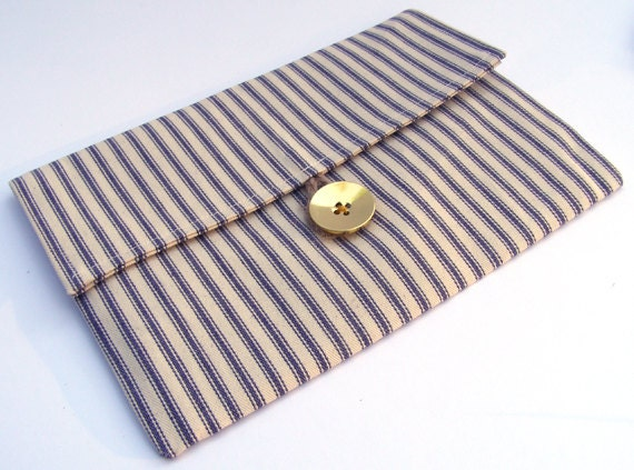 SALE- Blue French Ticking Clutch with Gold Button- Free Shipping