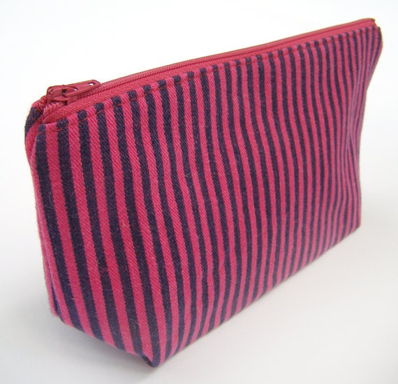 Make-up Bag - Magenta and Purple Striped Zipper Bag- Pencil Bag