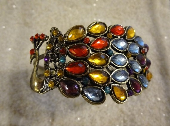The Rhinestone Peacock Vintage Style Bracelet  Gems Bracelet Bird