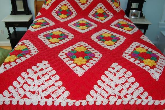 True Love Red Vintage Chenille Bedspread